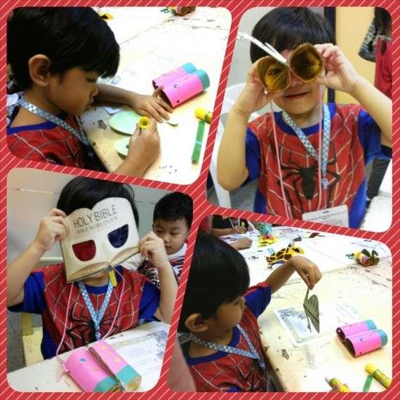 The little boy enjoying crafts time. :)