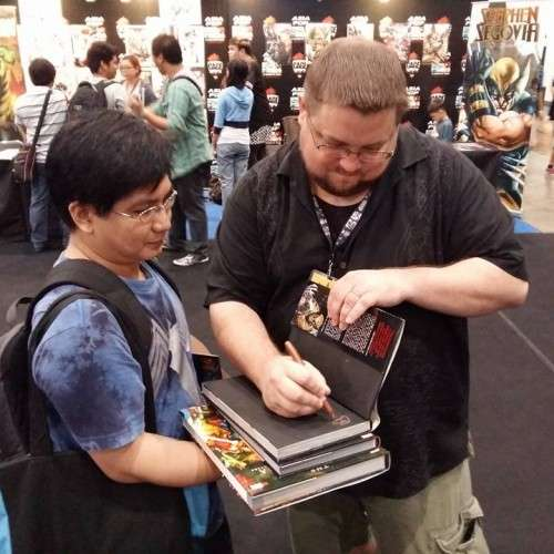CB Cebulski signing Hubby's graphic novel. :)