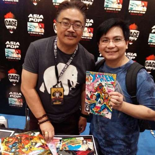"Hubby with the great Whilce Portacio, Marvel artist for ""Uncanny X-Men"" and ""X-Factor."" He also created the character of Bishop! :) And yes, he's a Filipino! :)"